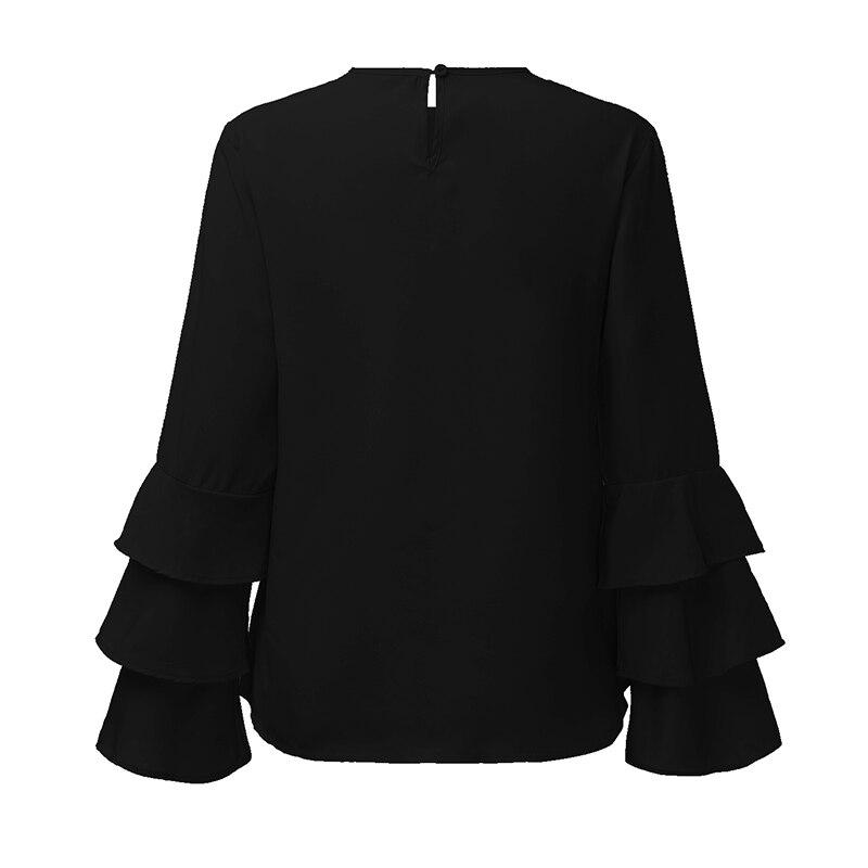 Zanzea kobiety bluzki koszule 2017 jesień eleganckie panie o-neck falbanką długim rękawem stałe blusas casual loose tops 16