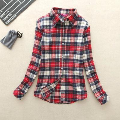 2017 hot sprzedaż jesień zima panie kobieta casual cotton lapel bluzka bluzki z długim rękawem kratę koszula kobiet szczupła odzieży wierzchniej clothing 21