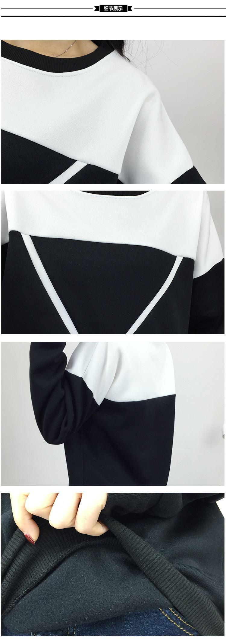 2017 Zima Nowe Mody Czarny i Biały Kolor Czar Patchwork Swetry Kobiety V Wzór Pullover Kobiet Dres M-XXL 11