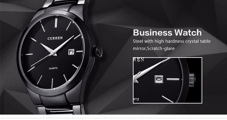 Curren 2016 Najlepsze Marki Biznesmenów Mężczyzna Luksusowy Zegarek Na Co Dzień Pełne stali Kalendarz zegarki Na Rękę zegarki kwarcowe relógio masculino 8