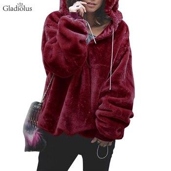 990c2b8701 Gladiolus 2018 automne hiver fausse fourrure manteau femmes fermeture—Livraison  gratuite