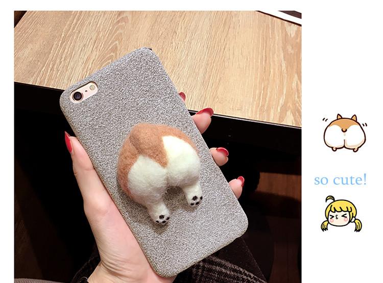 Corgi case handmake igły filcu wełnianego słodkie cat dog tyłek tyłek pokrywa dla apple iphone 6 6s plus iphone 7 7 p miękkie telefon komórkowy case 7
