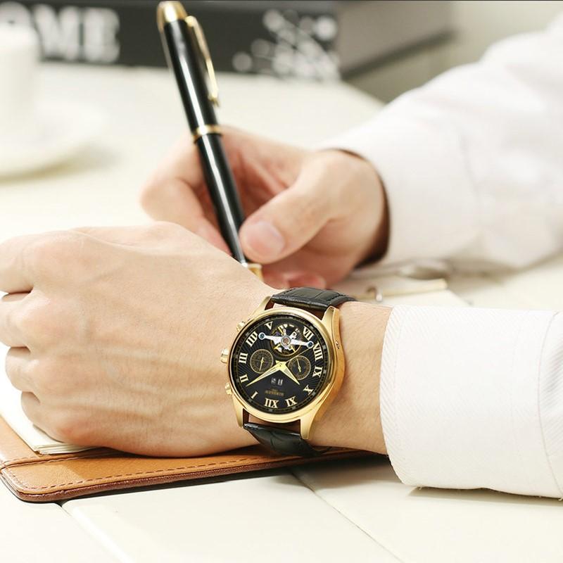 Kinyued Skeleton Watch Mężczyźni Automatyczna Wodoodporna Top Marka Męskie Zegarki Mechaniczne Skóry Kalendarza Złota Róża Relógio Masculino 12