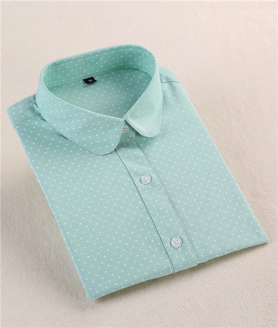 2016 Plus Size Polka Dot Bawełna Kobiety Bluzki Koszule Długie rękaw Kobiety Koszule Turn Down Collar Bawełna Dorywczo Koszula Kobiet topy 6