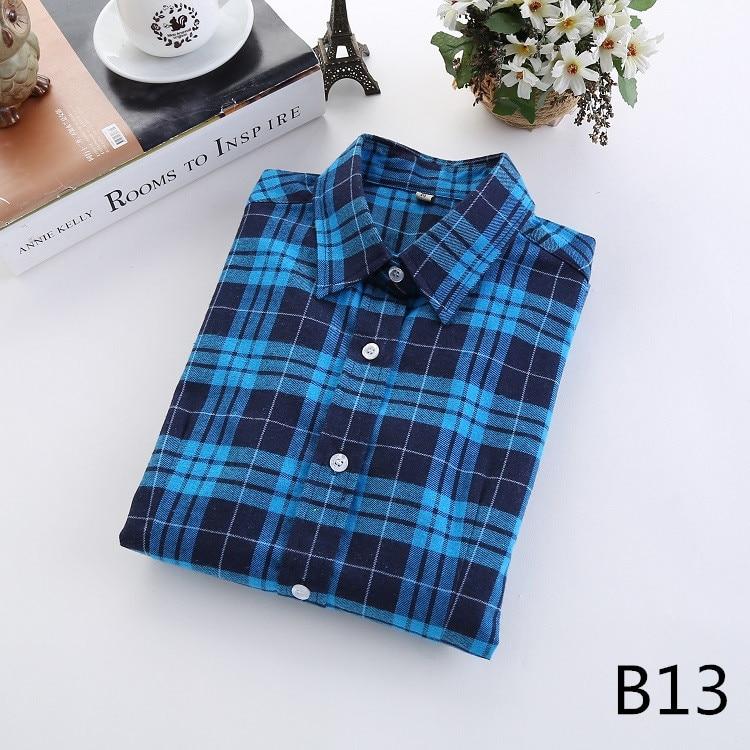 2016 Moda Plaid Shirt Kobiet College style damskie Bluzki Z Długim Rękawem Koszula Flanelowa Plus Rozmiar Bawełna Blusas Biuro topy 26