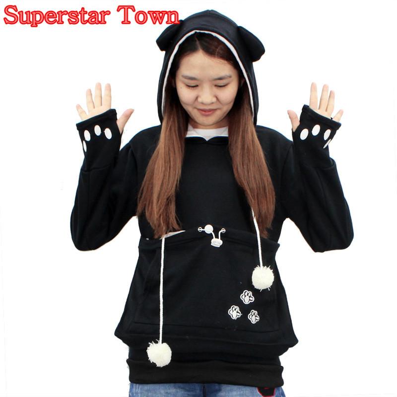 Cat hoodie bluzy z cuddle etui dog pet bluzy dla casual swetry z uszami 5