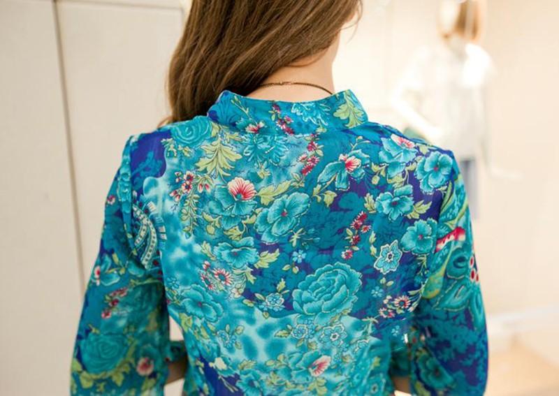 2017 new fashion kobiety bluzka koszula lato w stylu kobiety vestidos szyfonowa Mini Suknia Plus rozmiar 4XL floral Casual Topy Blusas Mujer 10