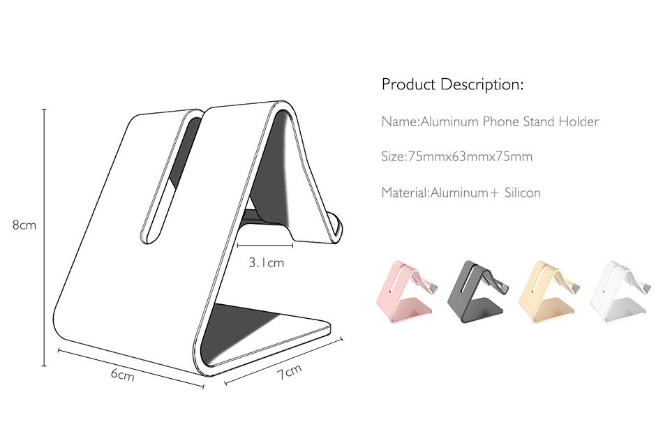 RAXFLY Uniwersalny Aluminium Metal Telefon Uchwyt Stojak Na iPhone 6 7 Plus Samsung Tabletka S8 Biurko Stojak Uchwyt Do Telefonu Inteligentnego Zegarka 2