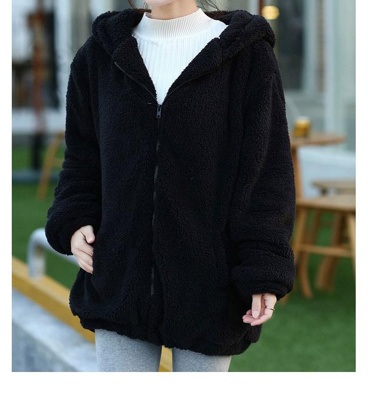 Hot Sprzedaż Kobiety Swetry Zipper Dziewczyna Zima Luźne Puszyste Niedźwiedź Ucha Bluza Z Kapturem Kurtka Warm Odzież Wierzchnia Płaszcz słodkie bluza H1301 11