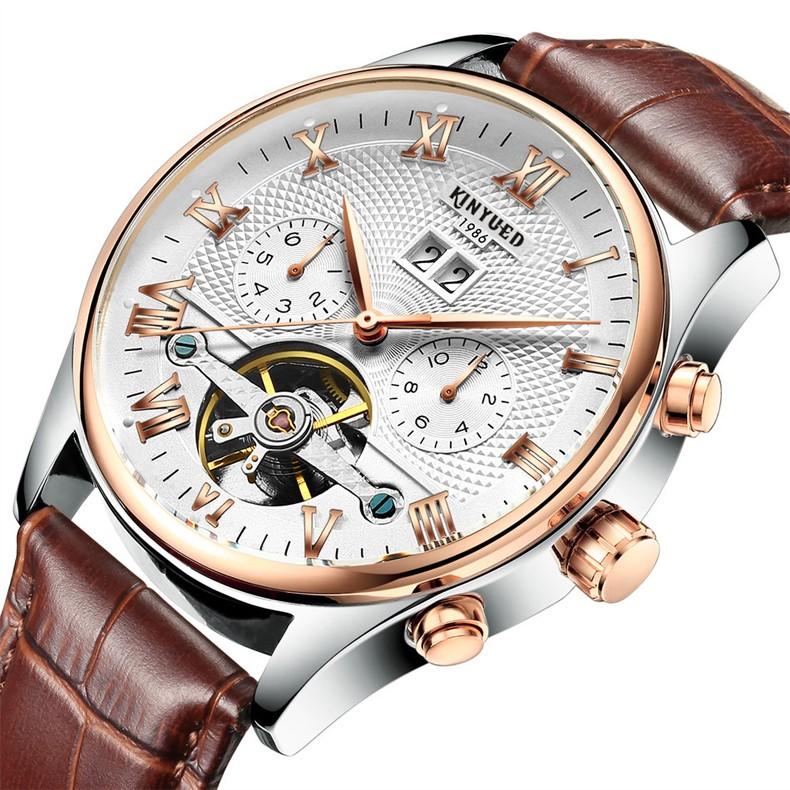 2017 Kinyued Skeleton Tourbillon Zegarek Mechaniczny Automatyczny Mężczyźni Klasyczne Rose Złota Skóra Mechaniczne Zegarki Reloj Hombre 2