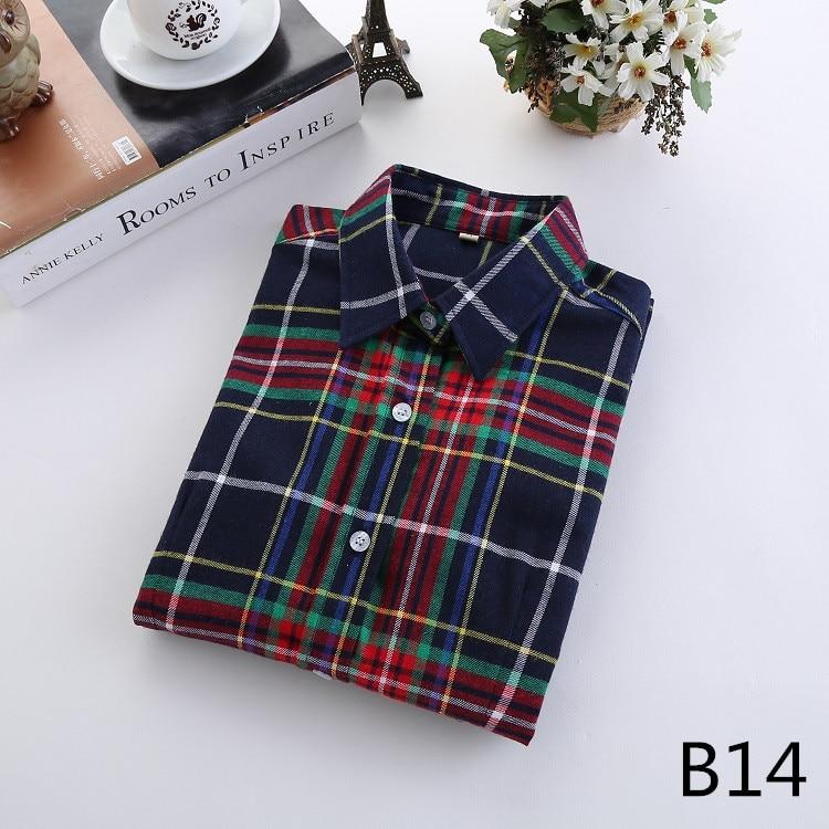 2016 Moda Plaid Shirt Kobiet College style damskie Bluzki Z Długim Rękawem Koszula Flanelowa Plus Rozmiar Bawełna Blusas Biuro topy 28