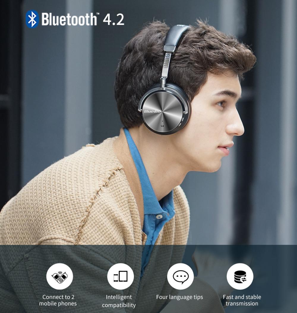 T4 bluedio aktywny hałasu anulowanie słuchawki bezprzewodowe bluetooth bezprzewodowy zestaw słuchawkowy z mikrofonem 11