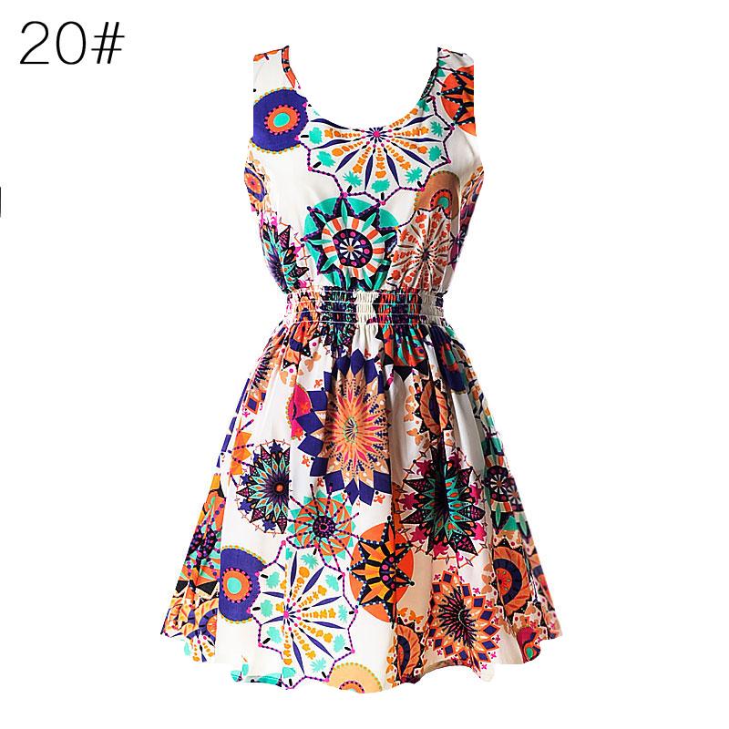 Sexy kobiety chiffon dress sundress plaża floral bez rękawów tank mini sukienki vestido 21
