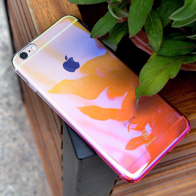 Baseus telefon case for iphone 6 6 s ultra płaski oświetlenie kolor gradientu twardy pc case for iphone 6 6 s plus coque tylna pokrywa shell 9