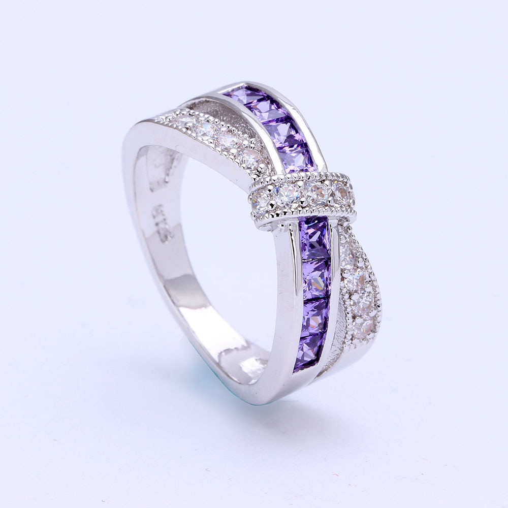 Amethyst Cross Finger Paved Zircon Wedding Engagement Ring 3