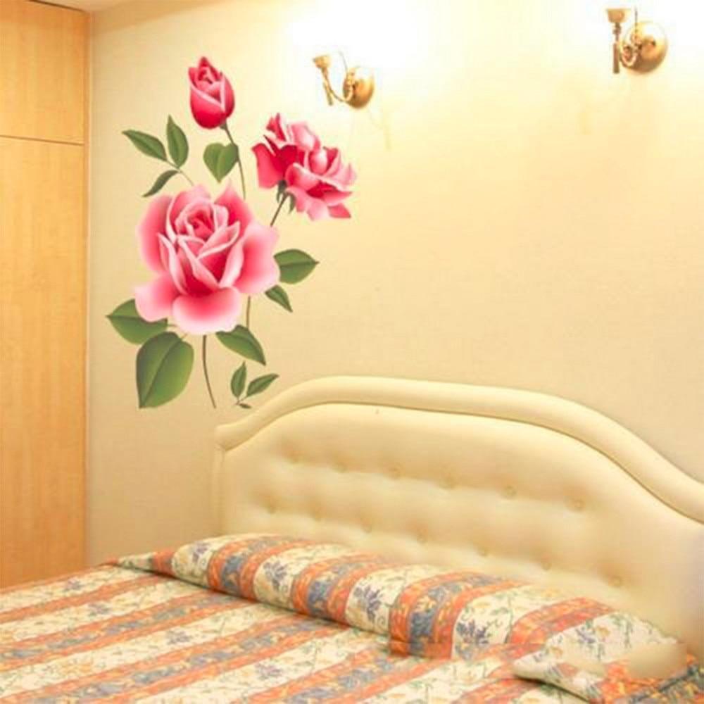 2017 Nowy Arrical Naklejki Decoratifs Maison Romantyczna Miłość Rose Flower 3D Wymienny Naklejki Ścienne Home Decor Pokoju Kalkomanie 7