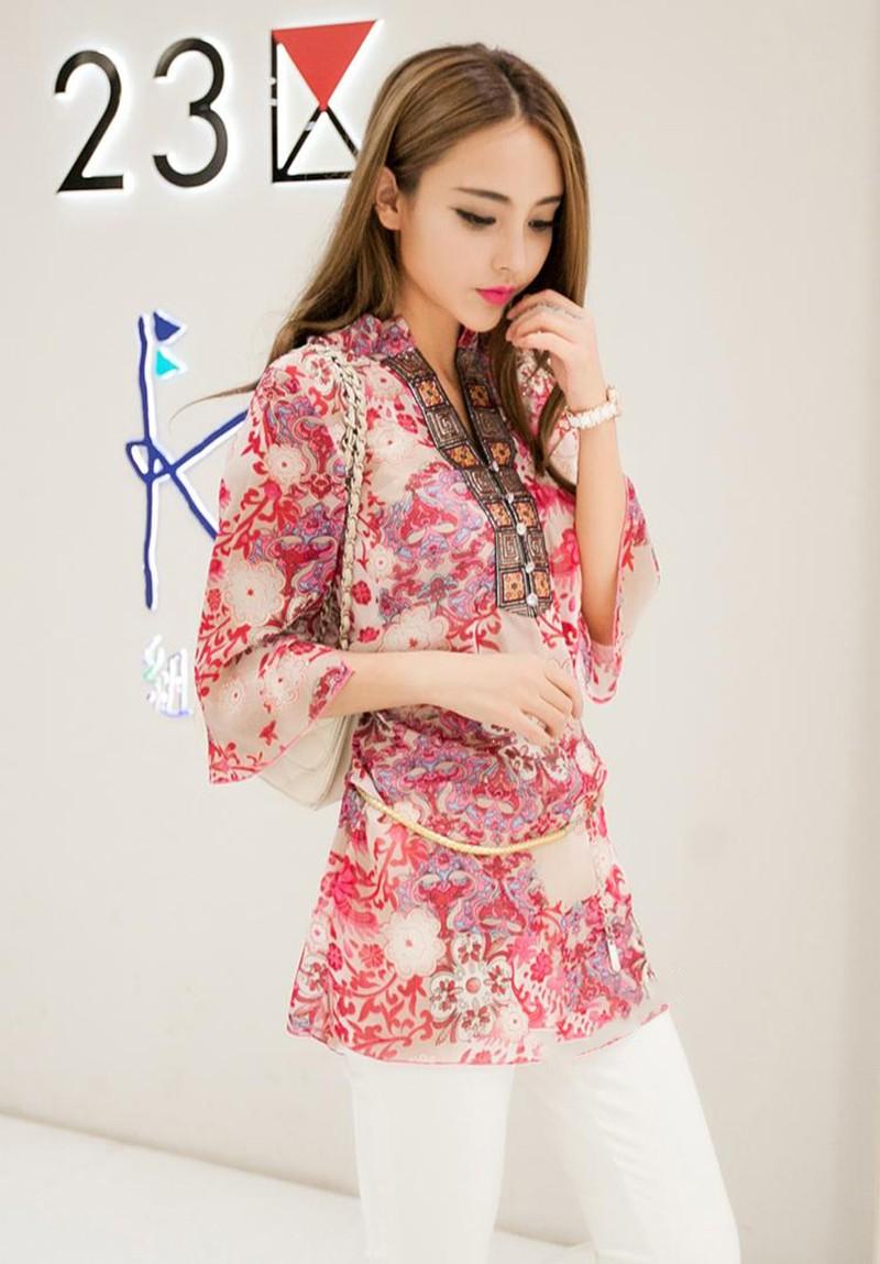 2017 new fashion kobiety bluzka koszula lato w stylu kobiety vestidos szyfonowa Mini Suknia Plus rozmiar 4XL floral Casual Topy Blusas Mujer 11