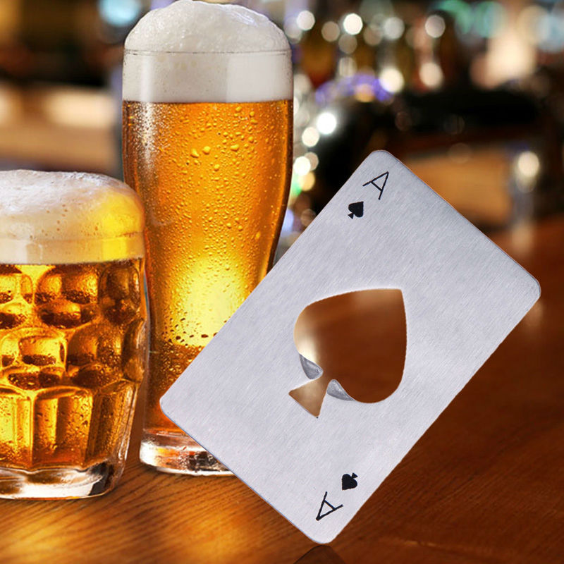 Stainless Steel Beer Opener Bottle Openers Poker Playing Card of Spades Soda Bottle Cap Opener Bar Tools Kitchen accessories kitchen tools