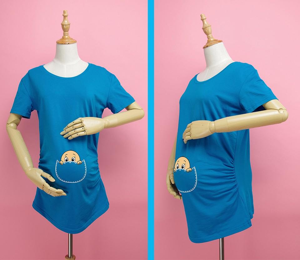 """""""Kieszonkowy dziecko siusiu boo"""" drukuj koszula ciążowa gravida top ciąży odzież tanie Tees Casual plus rozmiar XXL Darmowa wysyłka 6"""