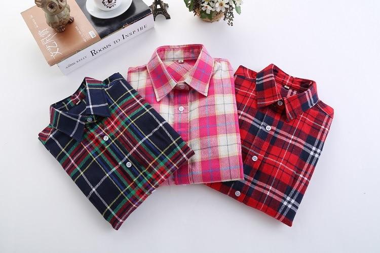 2016 Moda Plaid Shirt Kobiet College style damskie Bluzki Z Długim Rękawem Koszula Flanelowa Plus Rozmiar Bawełna Blusas Biuro topy 1