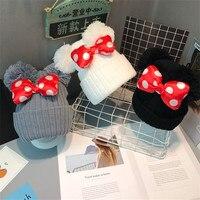Big Dot Bowknot Baby Hat Cute Kids Girls Pompom Ball Cap Autumn Winter Outdoor Warm Knitted Beanie