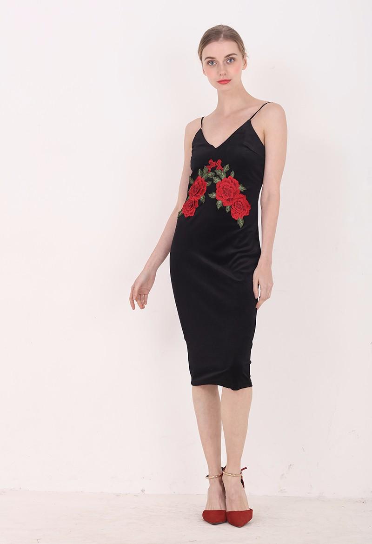 Red Flower Embroidered Black Velvet Shoulder-Straps Bodycon Dress 4