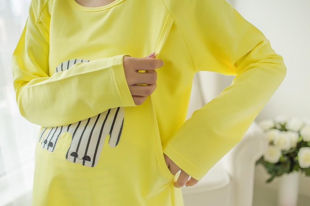 2 sztuk/zestaw Karmienie Piersią Nocna Opieki Macierzyńskiego Mody Macierzyńskiego Ubrania Kreskówki Piżamy Piżamy dla Kobiet W Ciąży 11