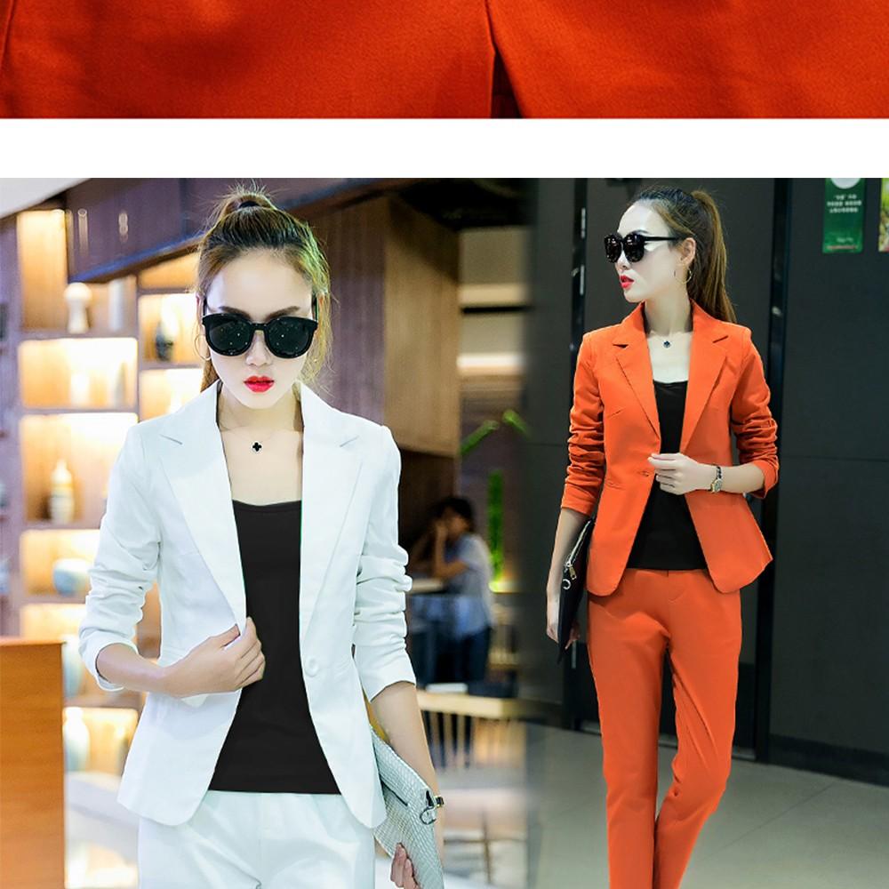 2017 w nowym stylu mody OL eleganckie kobiety pant suits formalna firm garnitur nosić pełne rękawem jednego przycisku femme blazer garnitur szczupła kurtka 10