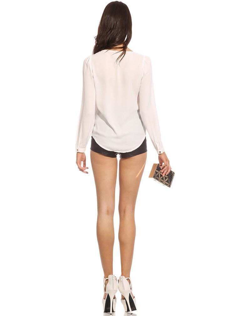 2017 Wysokiej Jakości Kobiety Bluzki i Koszule głębokie v szyi ubrania Mody Stałe szyfonowa Koszula sexy Bluzki Koszule damskie 16