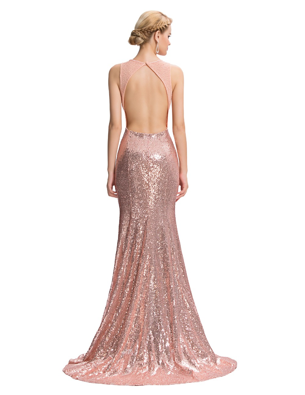 Elegant Pink Sequin Floor Length Backless Lace Mermaid Evening Dress 6