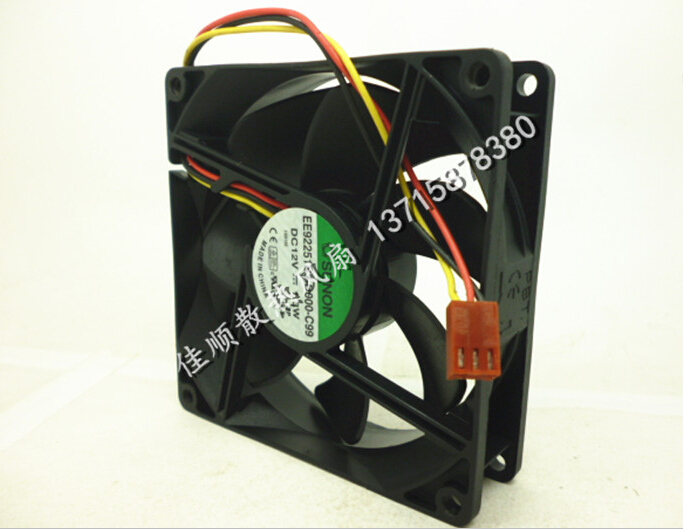 Wholesale: SUNON 9025 9225 12V 1.3W 9cm EE92251S3-D000-C99 3 wire case mute fan