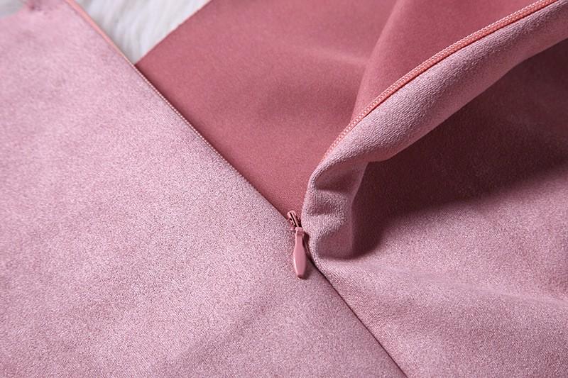 O-Neck Long Sleeve Suede Mini Dress 11