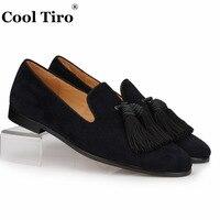 COOL TIRO Black Suede Loafers Men Handmade Tassels Slippers Wedding Dress Shoes Slip on Gentlemen Male's flat Casual Plus size