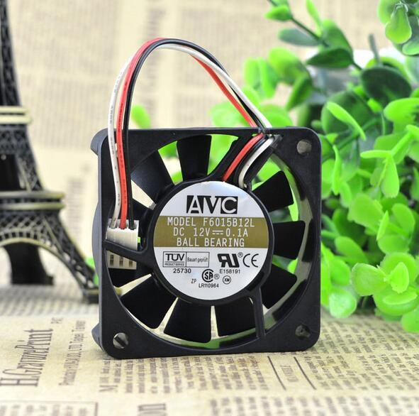 AVC 6CM 12V 0.1A F6015B12L 60*60*15 CPU three wire chassis speed double ball mute motherboard fan