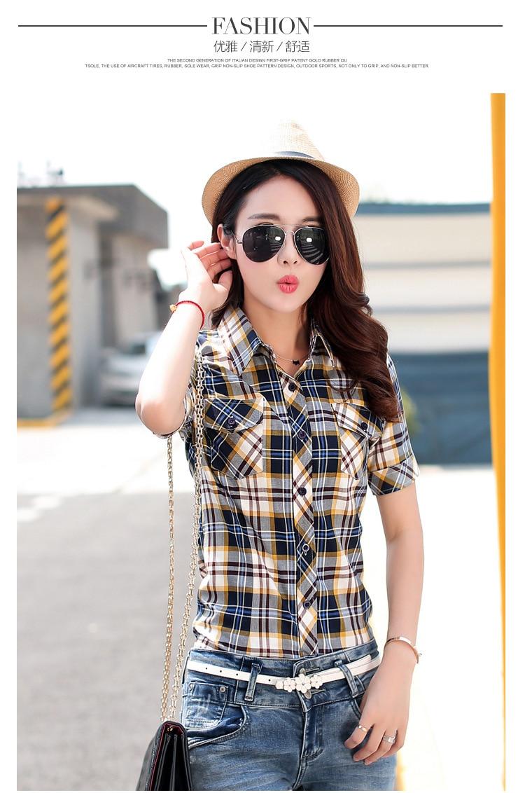 Brand New 2017 Lato Styl Plaid Drukuj Krótki Rękaw Koszule kobiety Plus Rozmiar Bluzki Na Co Dzień 100% Bawełna Topy Blusas 14 kolory 18
