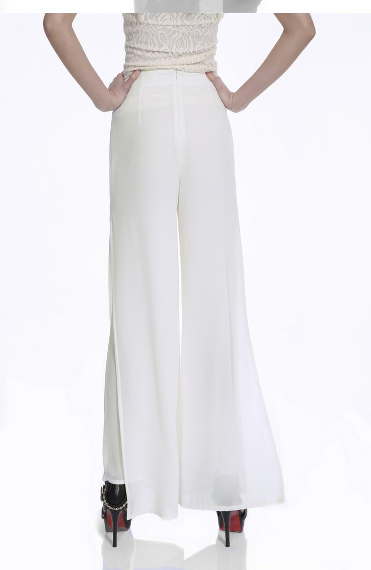 Vintage Loose High Waist Long Chiffon Side Split Casual Pants 26