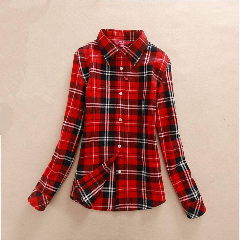 2017 hot sprzedaż jesień zima panie kobieta casual cotton lapel bluzka bluzki z długim rękawem kratę koszula kobiet szczupła odzieży wierzchniej clothing 15