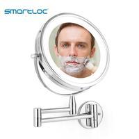 Smartloc 확장 가능한 LED 8 인치 10X 확대 욕실 벽 마운트 거울, 벽화 조명, 화장대, 메이크업 목욕, 화장품, 스마트 거울