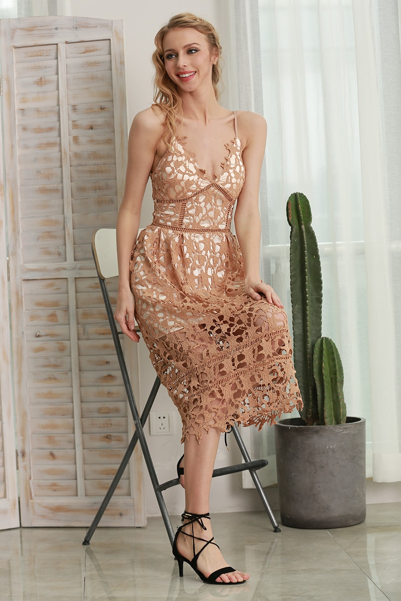 Hollow Out V-Neck Lace Summer Dress 2