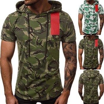 e5dcaa84ecc96 Дешевые Плюс размеры футболка для мужчин лето 2019 с камуфляжным принтом  капюшоном короткий рукав O образным. высококачественные Футболки