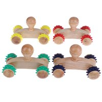 1Pcs 4 Massief Houten Roller Massager Ontspannen Hand Voet Hoofd Body Gezicht Massage Tool Reflexologie Massage Willekeurige