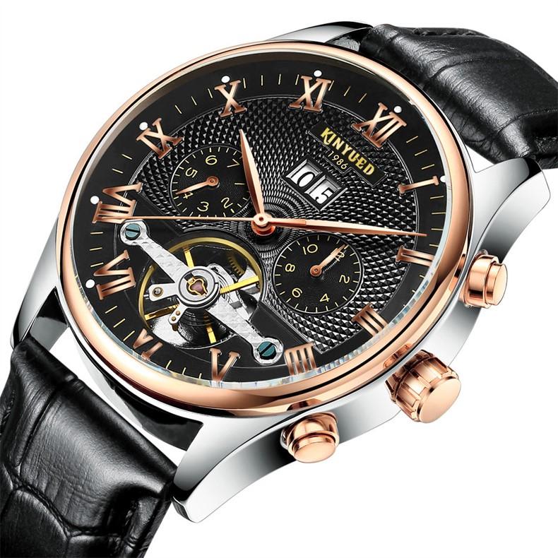 2017 Kinyued Skeleton Tourbillon Zegarek Mechaniczny Automatyczny Mężczyźni Klasyczne Rose Złota Skóra Mechaniczne Zegarki Reloj Hombre 1