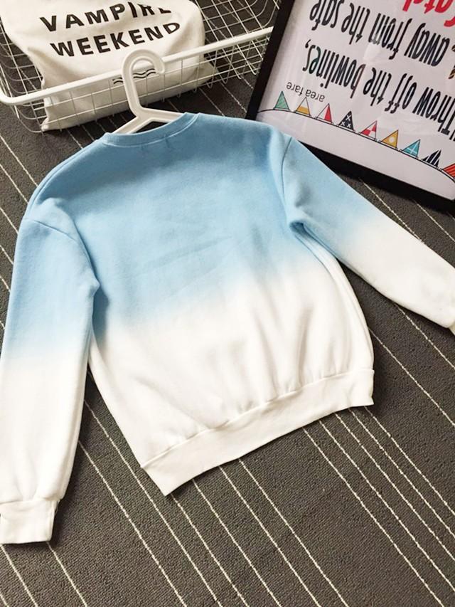 2016 Nowa Wiosna Jesień Harajuku Bluzy Polarowe Grube Kolor Gradientu Luźne Dorywczo Bluza Kobiety Bluzy Dres Moletom 4
