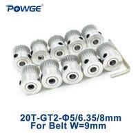 Powge polia síncrona de distribuição, 20 dentes 2gt diâmetro 5/6/6, 35/8mm para largura 9/10mm 2m gt2 correia pequena backlash 20 t 20 dentes 10 peças