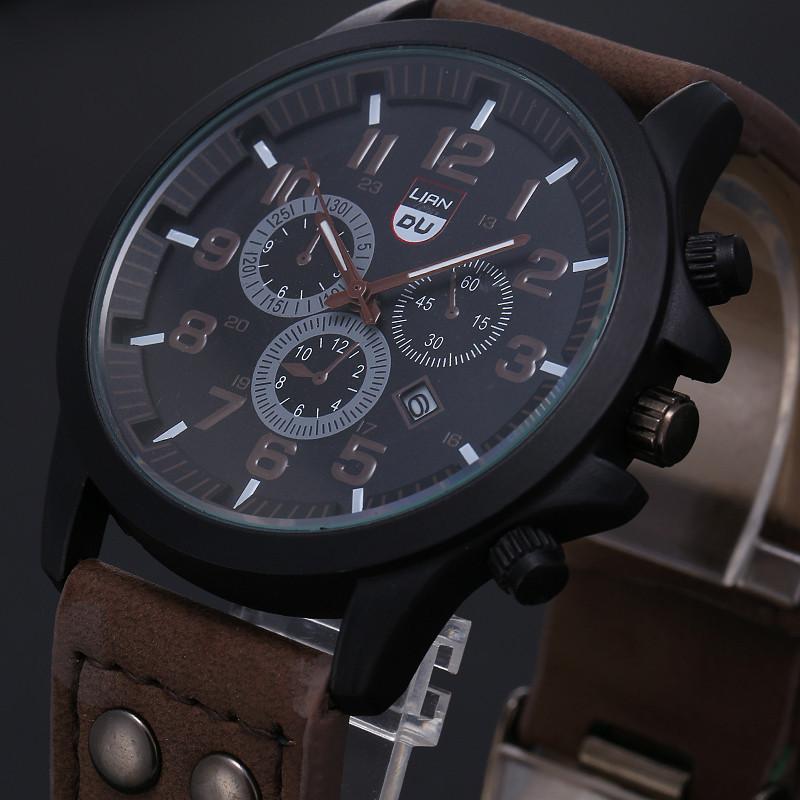 2016 New Business Quartz watch Men sport Zegarki Wojskowe Mężczyźni Corium Skórzanym Paskiem armii zegarek zegar godziny Kompletna Kalendarz 4