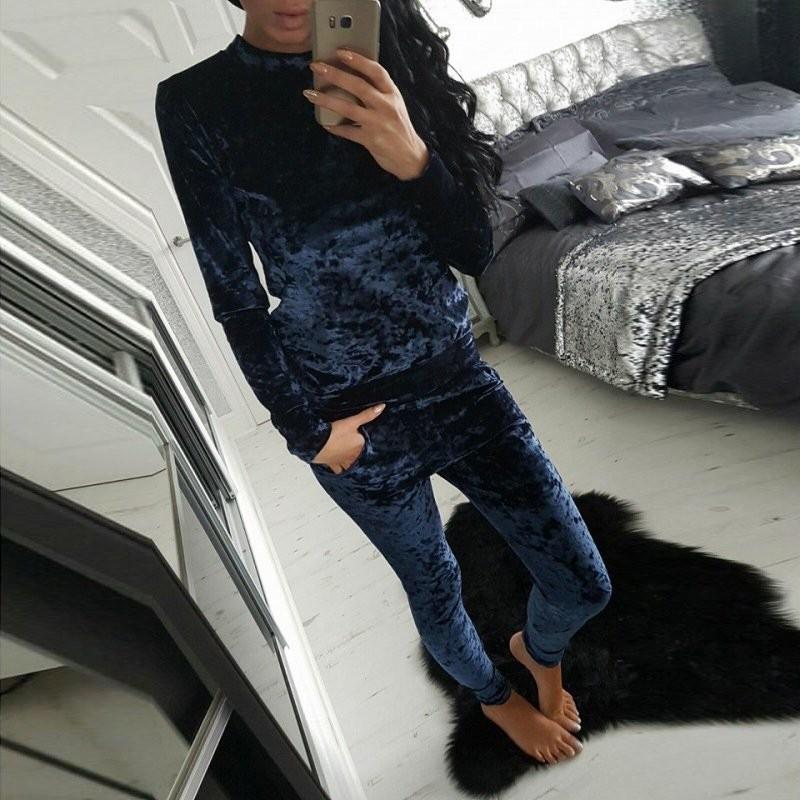 WJ Seksowne Kobiety Dres Ustawia 2017 Nowy Jesień Zima Moda Aksamitne długi Rękaw Bluzy Topy + Spodnie Wąskie Garnitury Femme 2 Sztuka Zestaw 9