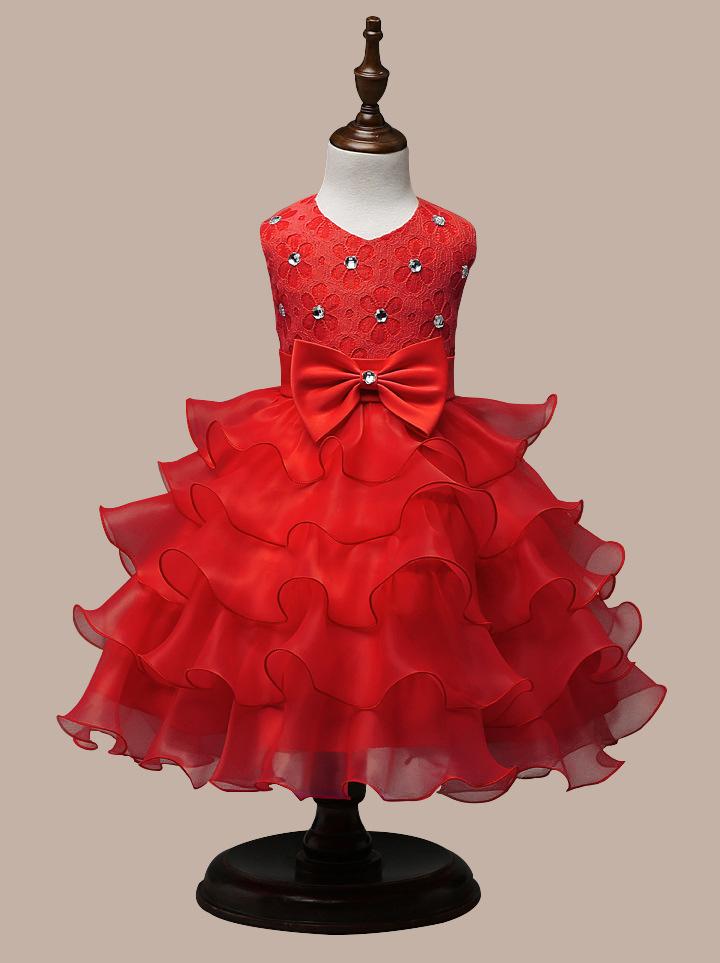 0-7 Years Mutlti Layer White Pink Flower Girl Dress 15