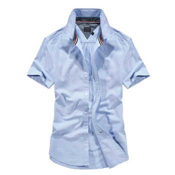51003403d7 Camicia di marca manica corta camisas cotone camicie da uomo casual