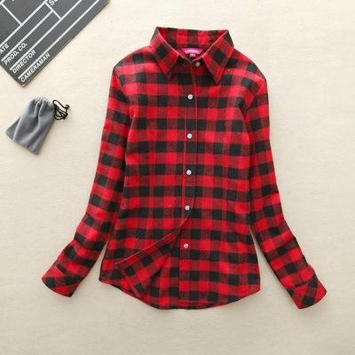 2017 hot sprzedaż jesień zima panie kobieta casual cotton lapel bluzka bluzki z długim rękawem kratę koszula kobiet szczupła odzieży wierzchniej clothing 32