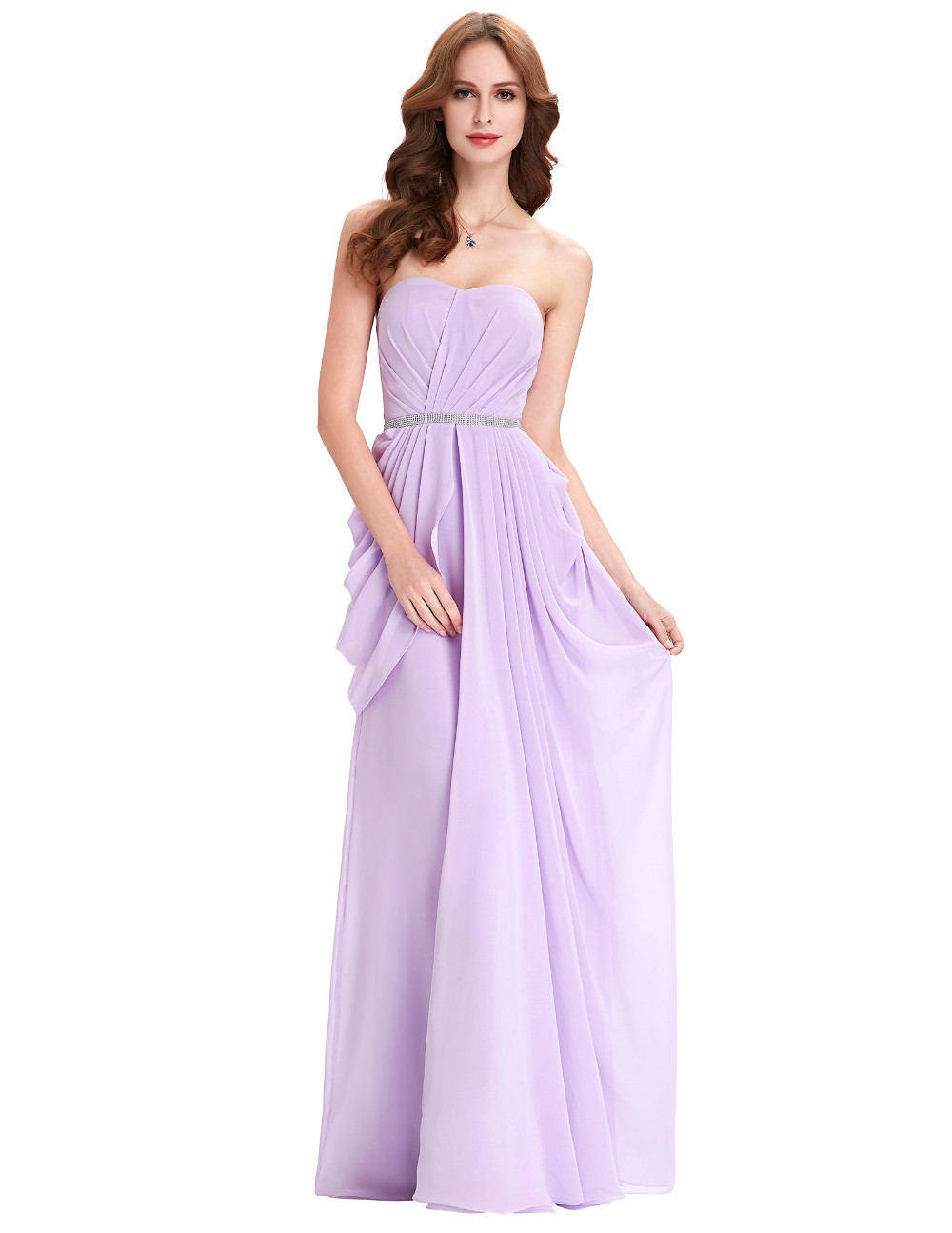 Purple Lavender Long Chiffon Floor Length Bridesmaid Dress 7